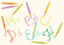 Color hand drawing letters for your design Stock Photo