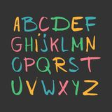 Color hand drawn alphabet, latin characters set. Vector lettering for posters, banners or greeting cards.  stock illustration
