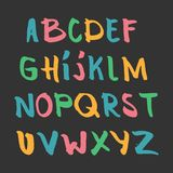 Color hand drawn alphabet, latin characters set. Vector lettering for posters, banners or greeting cards.  vector illustration
