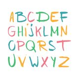 Color hand drawn alphabet, latin characters set. Vector lettering for posters, banners or greeting cards. Isolated on white backgr. Ound stock illustration