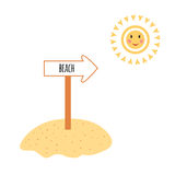 Color hand drawn beach sign with arrow and smile sun in cartoon style. Royalty Free Stock Photos