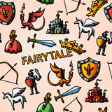 Color hand drawn fairytale pattern with - sword Royalty Free Stock Photography