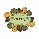Color hand-drawn food set with bread. Healthy food diet. Vector illustration Stock Photo