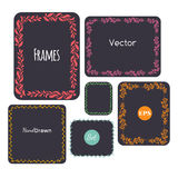 Color hand drawn frames set,  Vector elements, floral, leaves Royalty Free Stock Image