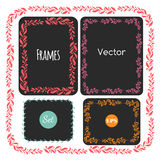 Color hand drawn frames set,  Vector elements, floral, leaves Royalty Free Stock Photography