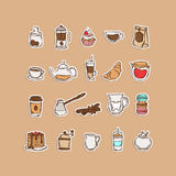 Coffee and tea time icons. Set of 20 hand-drawn doodle vector illustrations of coffee/tea time symbols, isolated on a light tan background Royalty Free Illustration