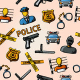 Color hand drawn police pattern - gun, car, crime Stock Image