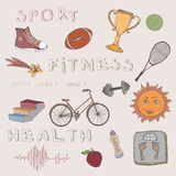 Color hand drawn set of sport, fitness and health elements. Great for illustration of fitness articles, presentations, template design Royalty Free Stock Images