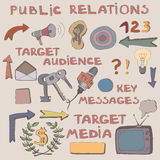Color hand drawn sketch of public relations signs and symbols. Royalty Free Stock Photos