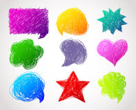 Color hand drawn speech bubbles Stock Photos