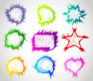Color hand drawn speech bubbles Stock Image