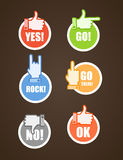 Сolor hand gestures on tags Royalty Free Stock Photo
