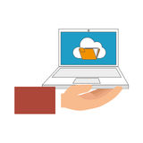 Color hand holding laptop computer with folder on screen Royalty Free Stock Images