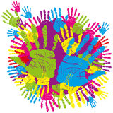 Color hand print. Vector color children's and parents' handprints means different symbols Stock Photography