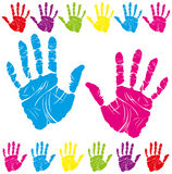 Color hand print. Vector color children's and parents' handprints means different symbols Royalty Free Stock Photos