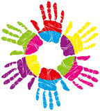 Color hand print. Vector color children's and parents' handprints means different symbols Royalty Free Stock Images