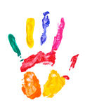 Color hand print. Over the white Stock Photography