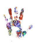 Color hand print on white Stock Images