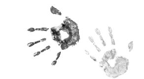 Color Hand Print. On White Background Stock Photos
