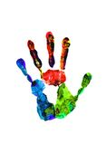 Color hand prints isolated on white Royalty Free Stock Photos