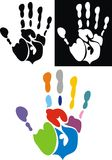 Color hand prints isolated. On the white background Royalty Free Stock Photo