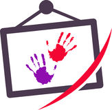 Color hand and slate. Has been created as vector Stock Image