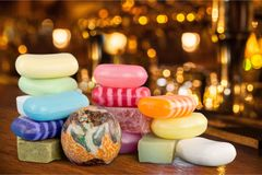 Row of handmade colorful soaps  on. Color handmade soaps bar background macro Royalty Free Stock Photo