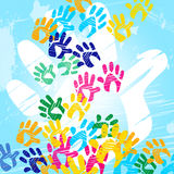 Color Handprints Means Child Human And Watercolor Stock Image