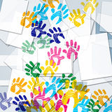 Color Handprints Represents Artwork Watercolor And Colorful Royalty Free Stock Image