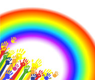 Color hands palms with rainbow Stock Photos