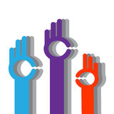 Color hands. Color hands and a symbol ok on a white background Royalty Free Stock Photos