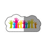 Color hands up together icon Royalty Free Stock Photo