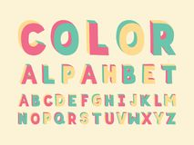 Color Handwritten font. Vector alphabet. Letters. Typeface design Stock Images