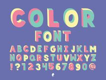 Color Handwritten font. Vector alphabet. Letters and numbers. Typeface design Stock Images