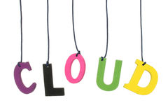 Color hanging wood cloud letters Royalty Free Stock Images