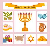 Color Hanukkah icons with Torah, menorah and dreidels. Vector illustration Stock Images