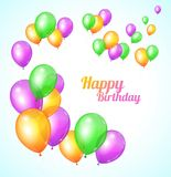 Color Happy birthday card. Balloons fly Stock Photo
