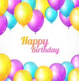 Color Happy birthday card. Balloons fly Royalty Free Stock Images