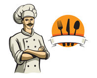 Color happy chef. Vector color happy chef on white background Royalty Free Stock Photos