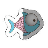 Color happy fish cartoon icon. Illustration design Royalty Free Stock Photo