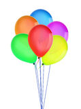Color happy holiday air flying balloons isolated on white Royalty Free Stock Photos