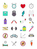 Color healthy lifestyle icons set Stock Images