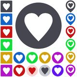 Color heart icon set. Square, circle and pin versions royalty free illustration