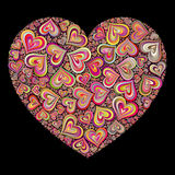Color Heart Mosaic on Black Background Stock Images