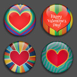 Color Heart with place for pictures or text. Vector. Color Heart with place for pictures or text. Hearts 3D Buttons with shadows. Modern Retro style. Great for Stock Images