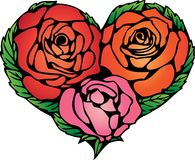 Color heart shape from three rose fl Stock Photography