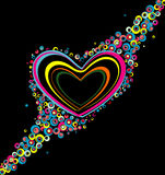 Color hearts. On black background Royalty Free Stock Photo
