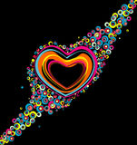 Color hearts. On black background Royalty Free Stock Image