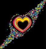 Color hearts. Confetti on black background Stock Photo