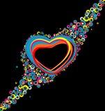 Color hearts. Confetti on black background Stock Image